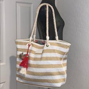 Vera Bradley striped tote bag white & natural/gold